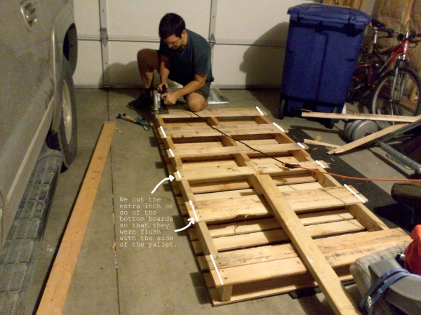 Diy twin bed from wood pallets emily jones photography for How do you make a pallet bed